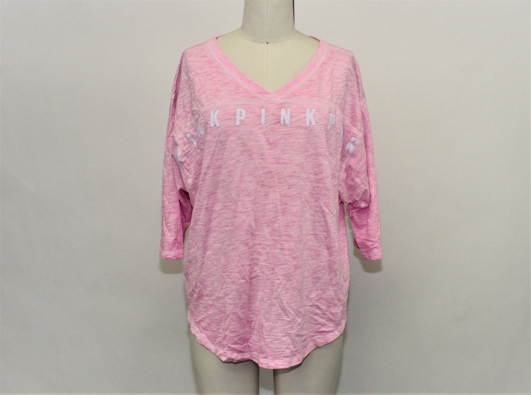PINK Pink 3/4 Sleeve Top - Size: L
