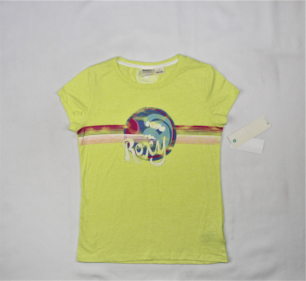 ROXY Girl Green Logo Print T-Shirt - Size: L/16