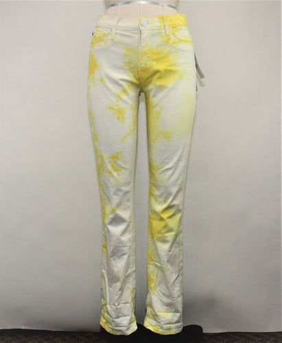 Hudson Yellow and White Straight Jeans - Size: 28