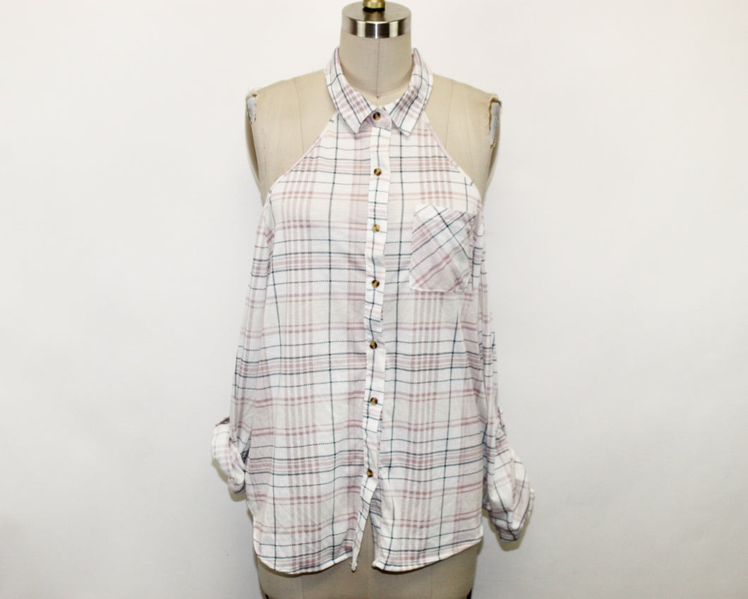 Fashion Nova White Plaid Top - Size: XL
