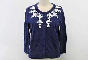 Kate Spade New York Navy Blue Beaded Sweater - Size: M