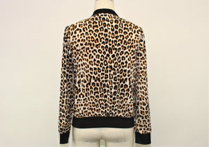 Express Ivory Cheetah Print Full Zip Jacket - Size: S