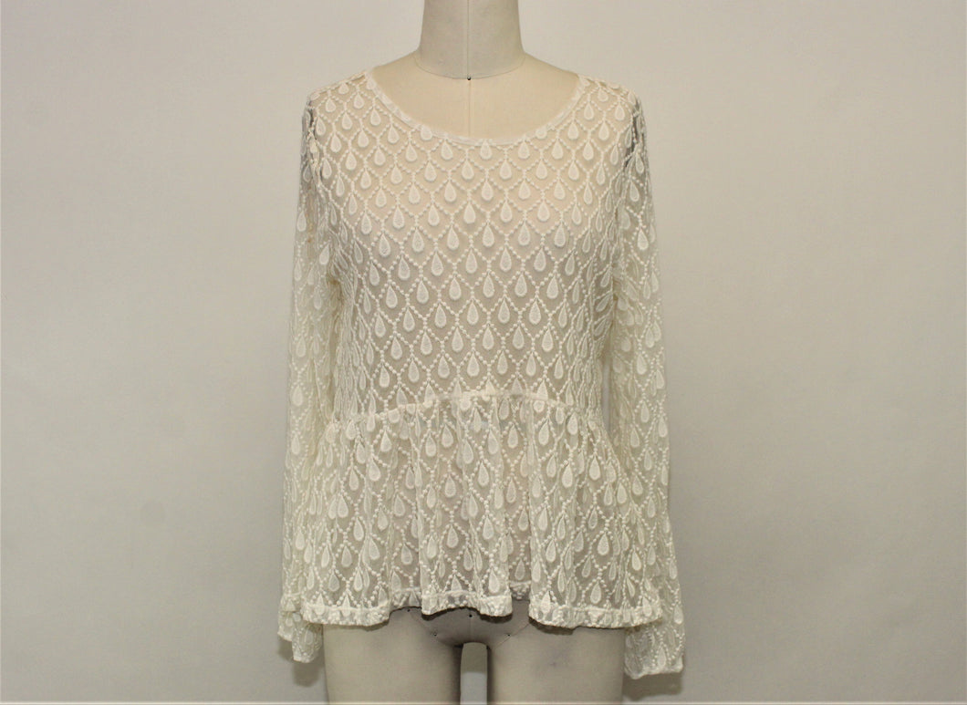 H&M White Lace Long Sleeve Blouse - Size: L