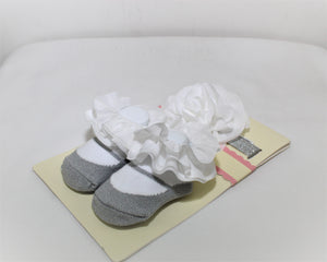 Baby Essentials Gray and White Headband & Socks - Size: 0-6M