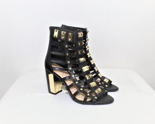Jessica Simpson Black Justinah Leather Gladiator Sandals - Size: 5M