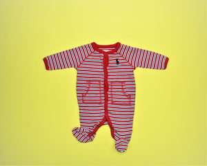 Ralph Lauren Red Striped Coverall - Size: Newborn