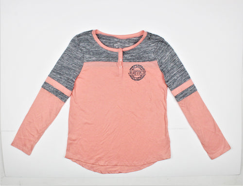 Justice Pink and Gray Long Sleeve Active Top - Size: 12Y