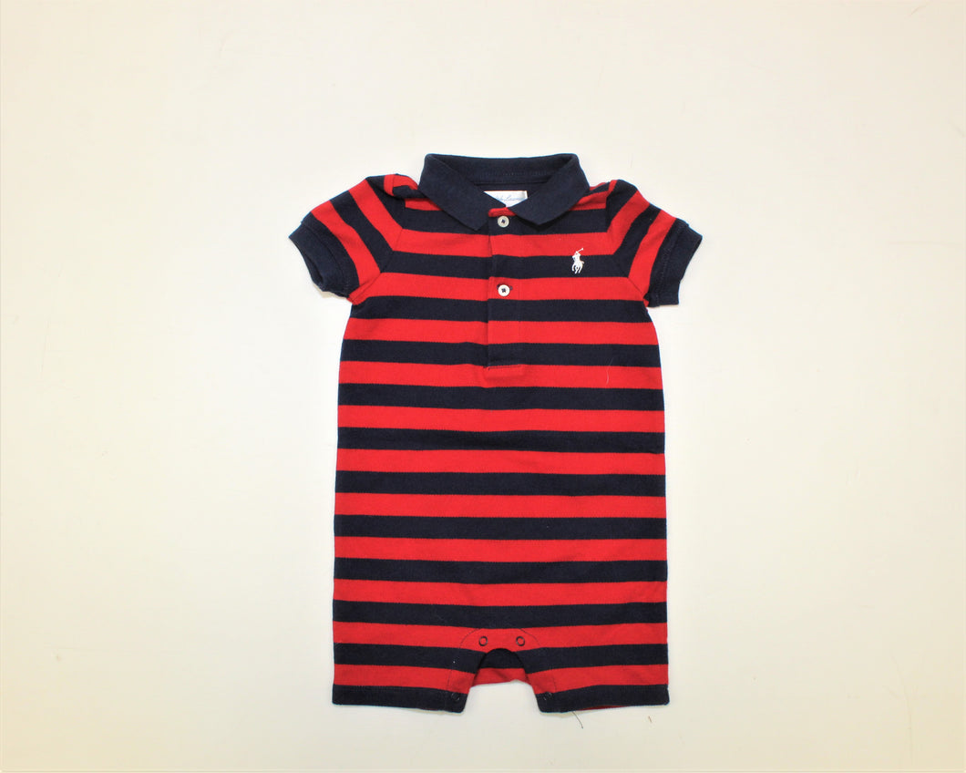 Ralph Lauren Navy Blue and Red Striped Bodysuit - Size: 9M