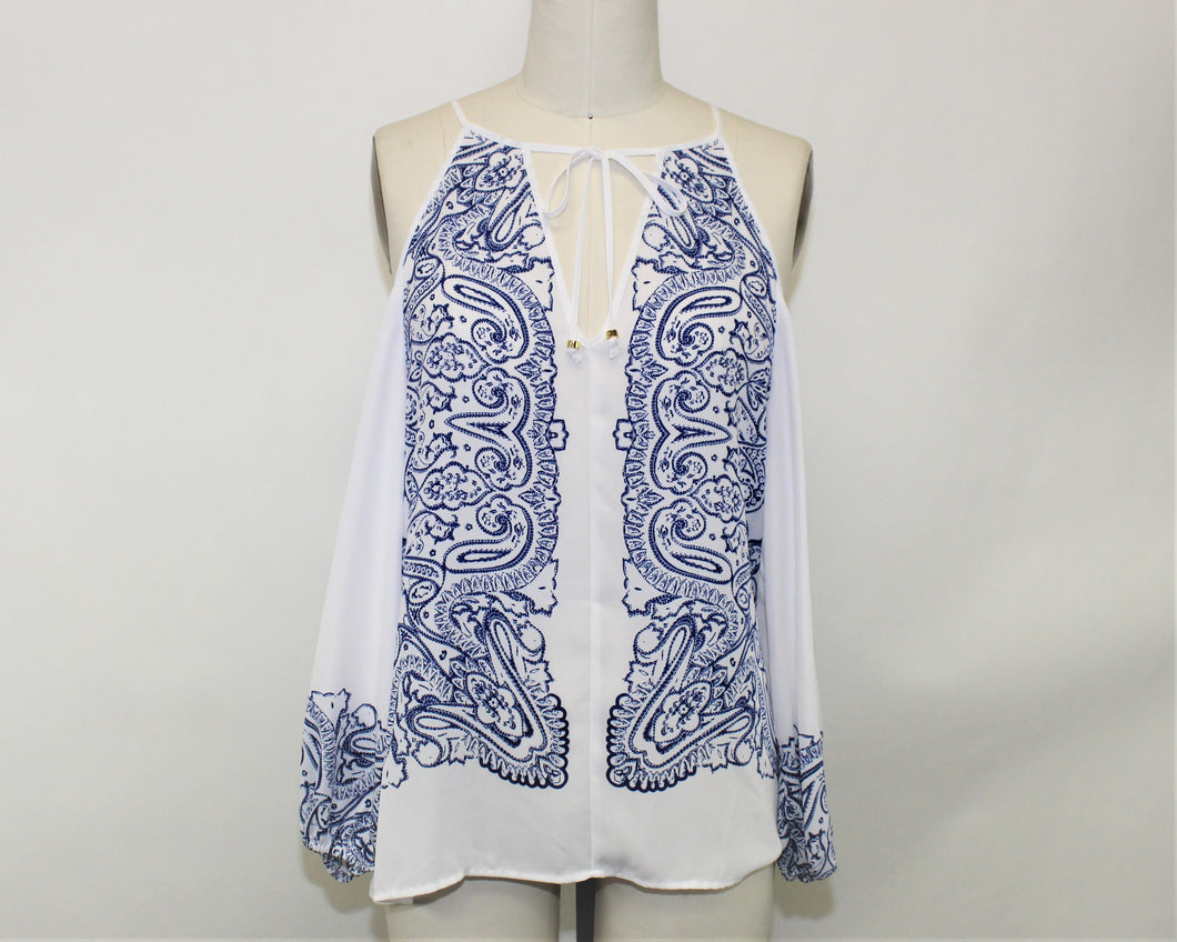 Guess White Open Shoulder Blouse - Size: M