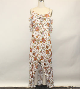 Hommage White Floral Maxi Dress - Size: L