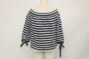 J. Crew Navy Blue and White Striped Top - Size: M