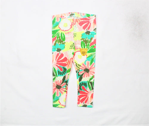 Cat & Jack Multi-Color Floral Print Leggings - Size: 2T