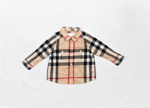 Burberry Children Beige Long Sleeve Shirt - Size: 9M