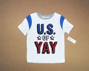 Old Navy White Print T-Shirt - Size: 2T