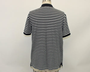 Nautica Navy Blue and White Striped Polo Shirt - Size: L
