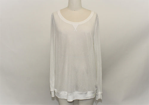 Calvin Klein White Performance Long Sleeves Top - Size: XL