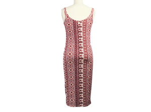 Billa Bong Red Print Sleeveless Maxi Dress - Size: L