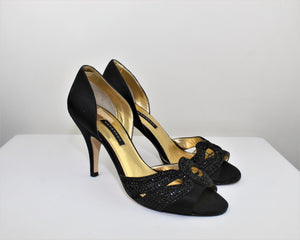 Caparros Black Leather Open Toe Heels - Size: 7.5B