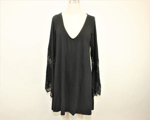 Express Black Long Sleeves Dress - Size: L