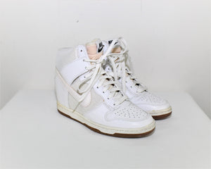 Nike White Dunk Sky High Mesh Shoes - Size: 6