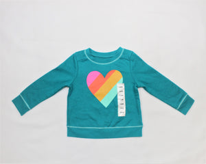 Cat & Jack Blue Heart Print Sweatshirt - Size: 18M