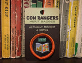 Con Rangers convention merit badge: Actually Bought a Comic. Con Rangers merit badge [embroidered patch with an open comic book and dollar bill, pictured in front of Pogo comic books.]