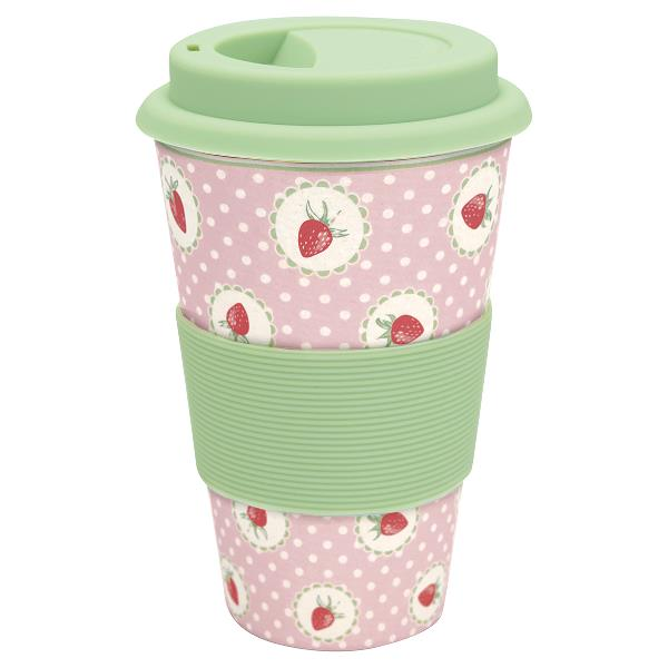 greengate travel mug strawberry pale pink