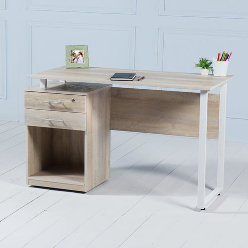 Review<br><i> <small>Office Desk with Drawers in Brushed Oak</i></small>