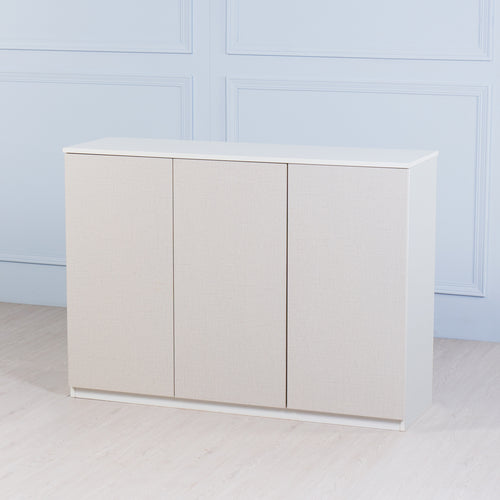 Space<br><i> <small>3 Door Storage Cabinet in White</i></small>