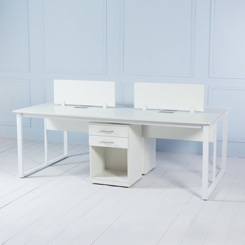 Team<br><i> <small>4 Person Workstation in White</i></small>