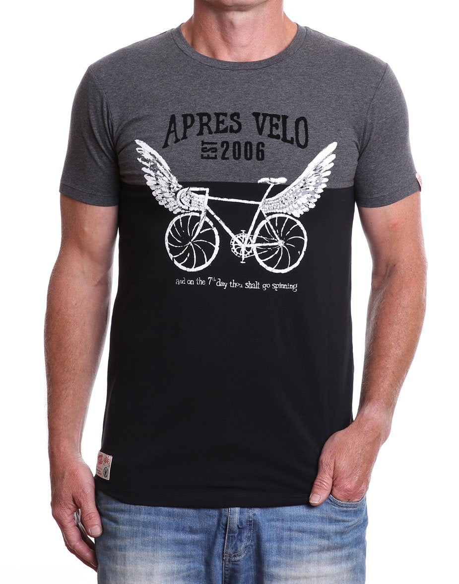 Front view of men's charcoal/black 7th Day Spinner crew neck cycling t-shirt