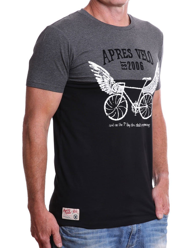 3/4 view of men's charcoal/black 7th Day Spinner crew neck cycling t-shirt
