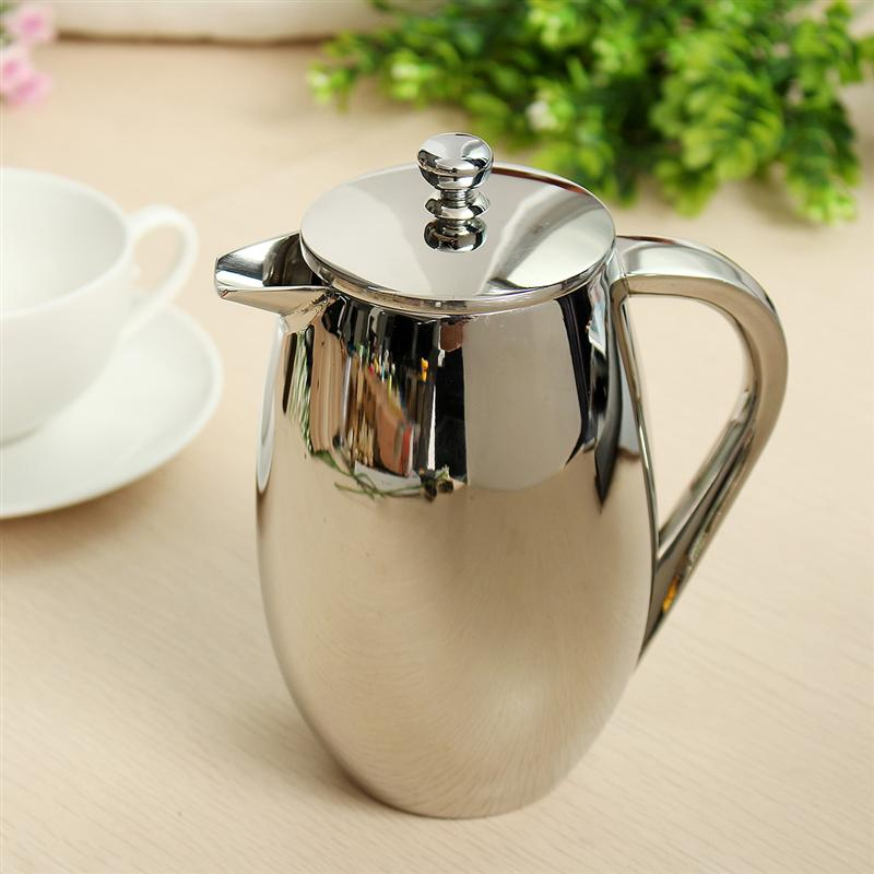 BEAUTIFUL STAINLESS STEEL FRENCH PRESS, 350 CC.