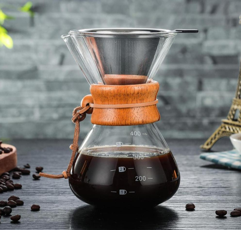 Glass and Wood Pour Over Coffee Maker with a Stainless Steel Filter!