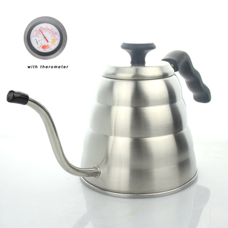 Pour Over Gooseneck Kettle, 1.2l Stainless Steel, With Thermometer