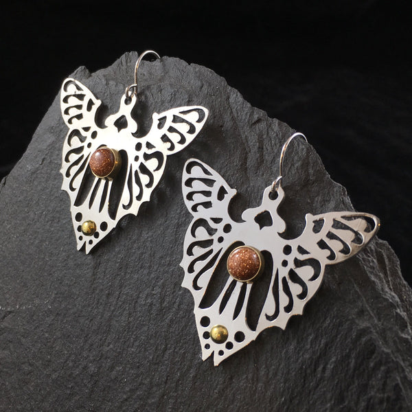 Butterfly & Gemstone | Drop Earrings