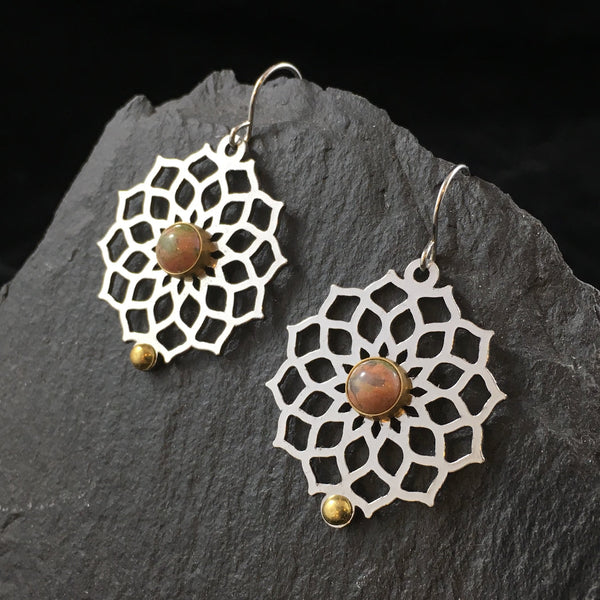 Sacred Geometry & Gemstone | Drop Earrings