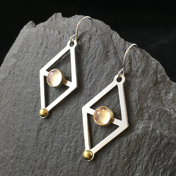 Stacking Triangles & Gemstone | Drop Earrings