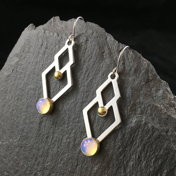 Two of Diamonds & Gemstone | Drop Earrings
