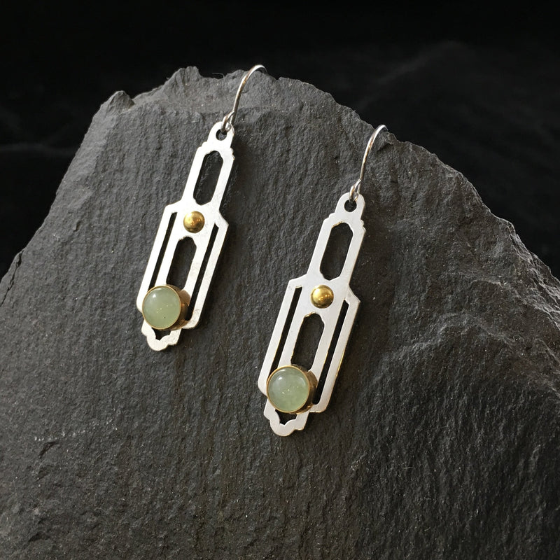 Skyscraper & Gemstone | Drop Earrings