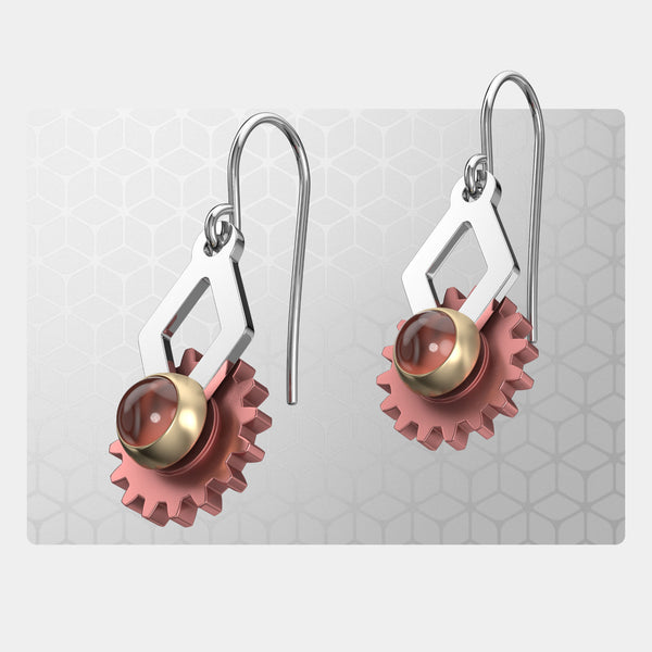 Ace of Diamonds | Drop Earrings with Gear