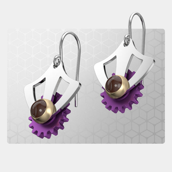 Modern Gothic | Drop Earrings with Gear
