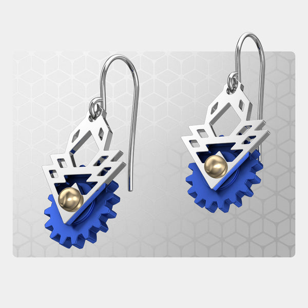 Sun Rays | Drop Earrings with Gear