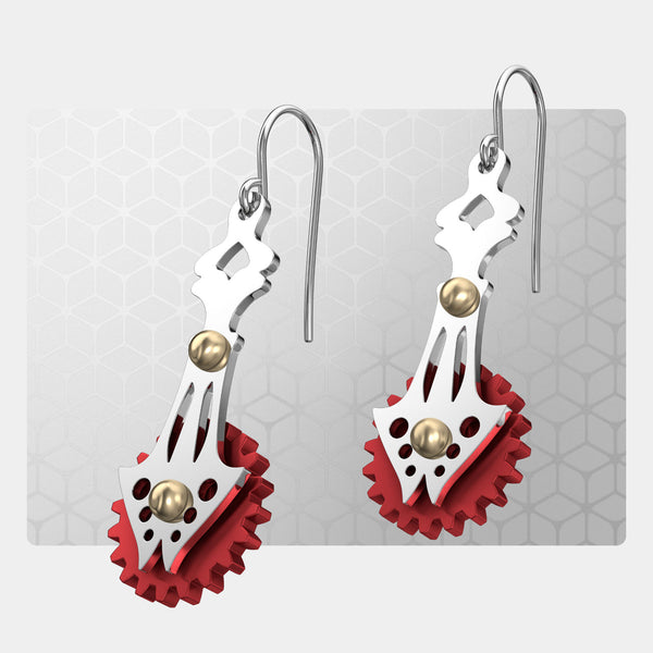 Butterfly | Drop Earrings with Gears