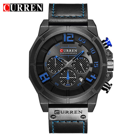 CURREN 8287 Top Brand Chronograph Quartz watches Men 24 Hour Date Men Sport Leather Wrist Watch