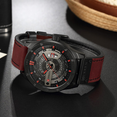 CURREN 8301 Top Brand Luxury watch men date display Leather  creative Quartz Wrist Watches relogio masculino