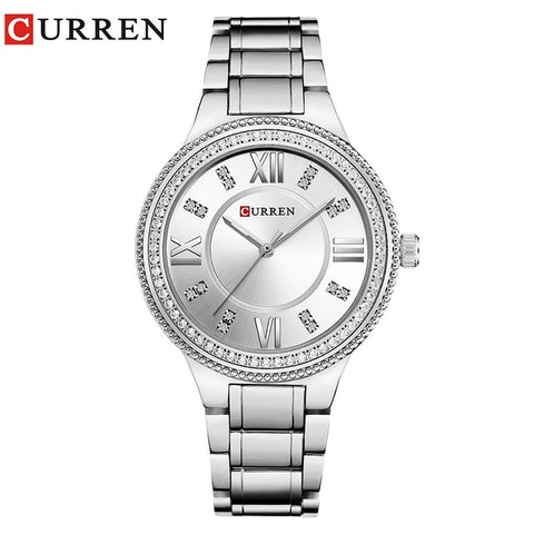 CURREN 9004 Top Luxury Brand  Women Quartz Watch Crystal Design Ladies wristwatches relogio feminino