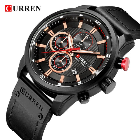 CURREN Luxury Brand Men Military Sport Watches Men's Quartz Clock Leather Strap Waterproof Date Wristwatch Reloj 8291