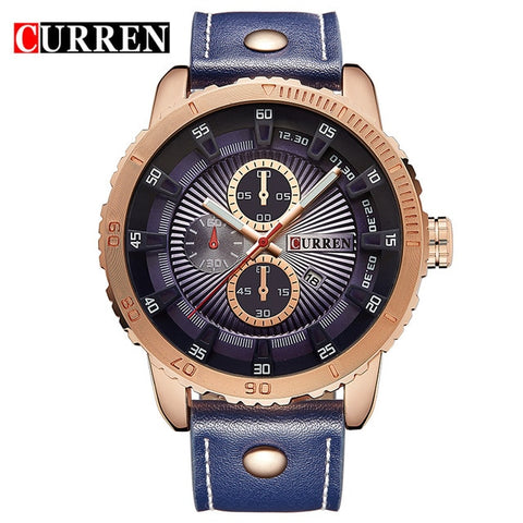 Curren luxury brand quartz watch Casual Fashion Leather watches reloj masculino men watch free shipping Sports Watches 8206