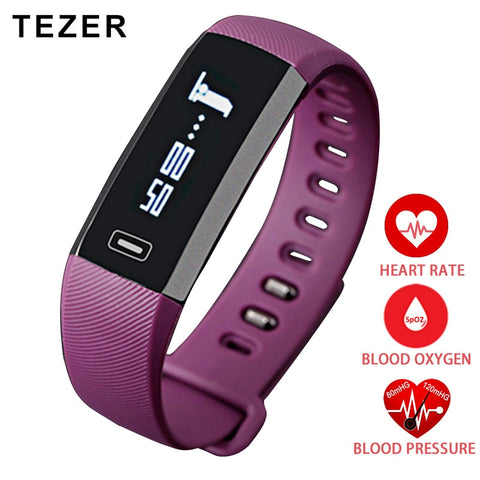TEZER top Sports Heart rate monitor Oxygen Oximeter Blood Pressure Smart Bracelet For iOS Android Passometer purple / black saat